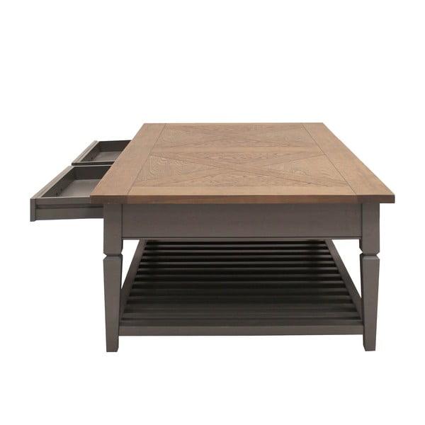 Szary stolik z 2 szufladami Canett Royal