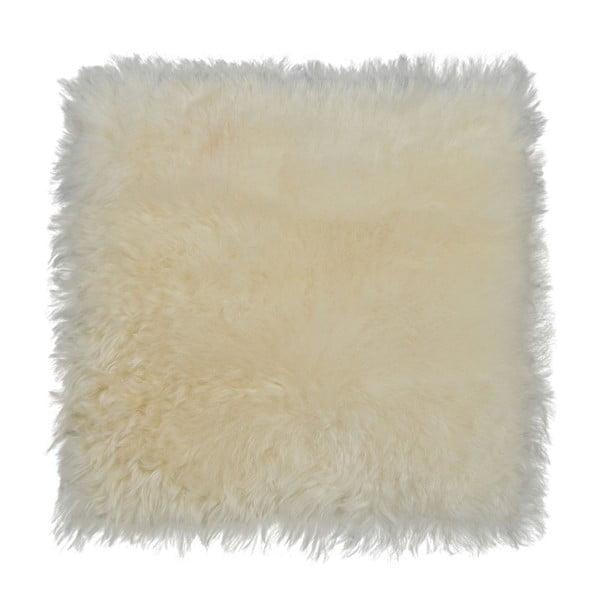 Biała poduszka futrzana do siedzenia z krótkim włosiem, 37x37 cm