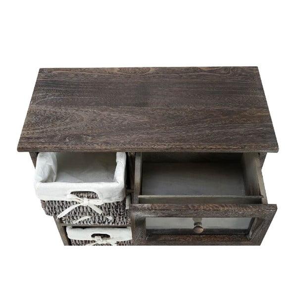 Brązowa szafka Mendler Shabby Wicker, 64x60x30 cm