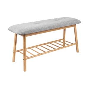 Bambusowa ławka z szarym siedziskiem Leitmotiv Bench