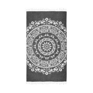 Czarny ręcznik hammam Kate Louise Madalena, 165x100 cm