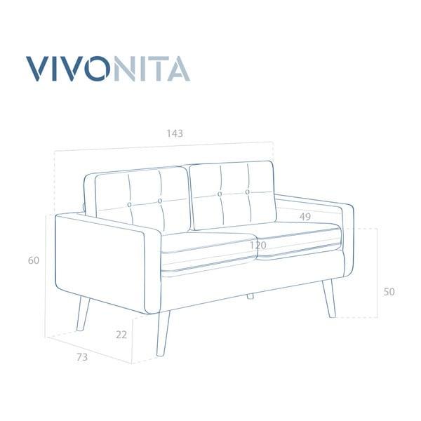Pastelowo-zielona sofa dwuosobowa Vivonita Ina