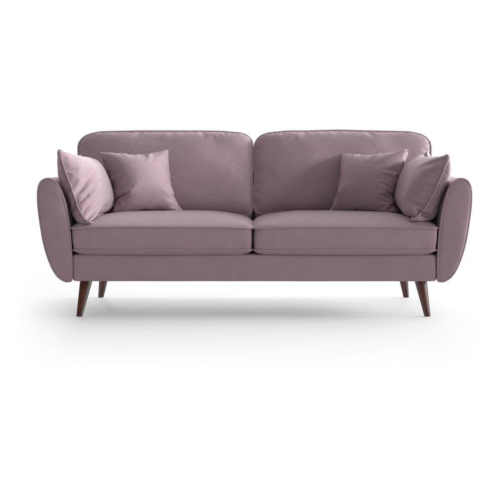 Jasnoróżowa aksamitna sofa My Pop Design Auteuil