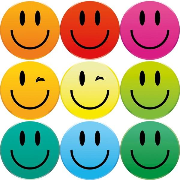 Zestaw 9 magnesów Smiley