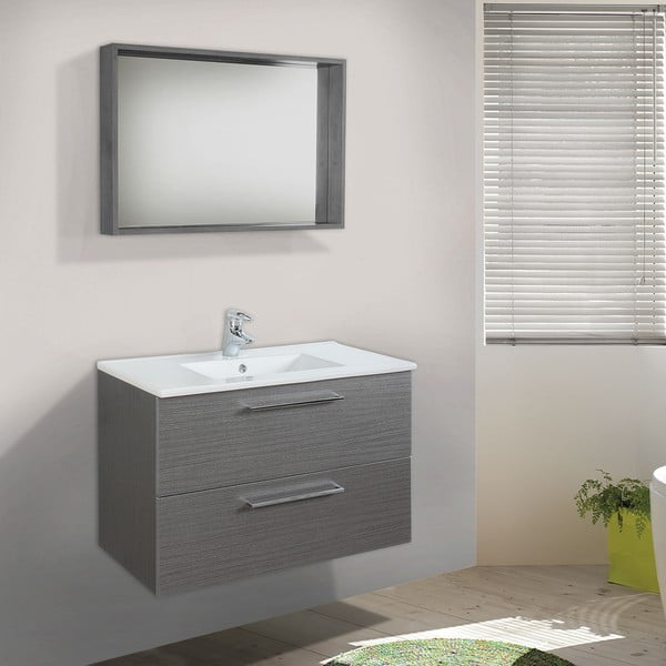 Szafka do łazienki z umywalką i lustrem Giro, odcień szarości, 80 cm