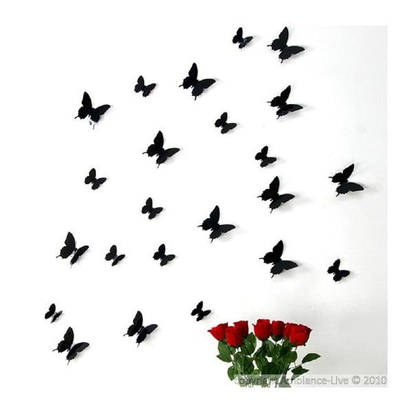 Zestaw 12 naklejek 3D Ambiance Black Butterflies