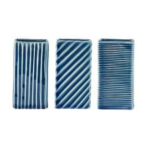 Zestaw 3 niebieskich wazonów KJ Collection Lines, 6x12cm