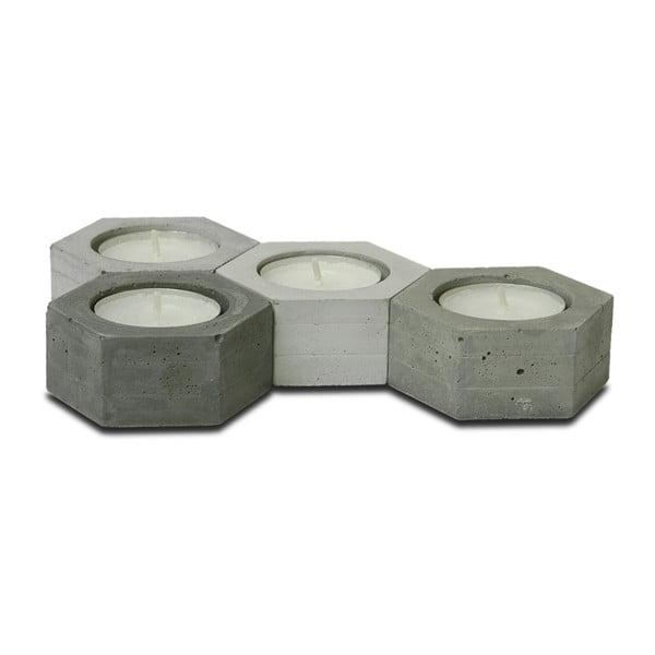 Komplet 4 betonowych świeczników Jakuba Velínskiego Hexagon