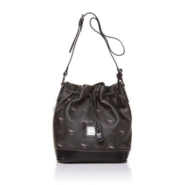Skórzana torebka Canguru Bucket, czarna