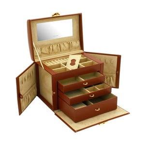 Brązowa szkatułka na biżuterię Friedrich Lederwaren Cordoba, 26x18 cm