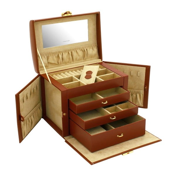 Brązowy kuferek na biżuterię Friedrich Lederwaren Cordoba, 26x18 cm