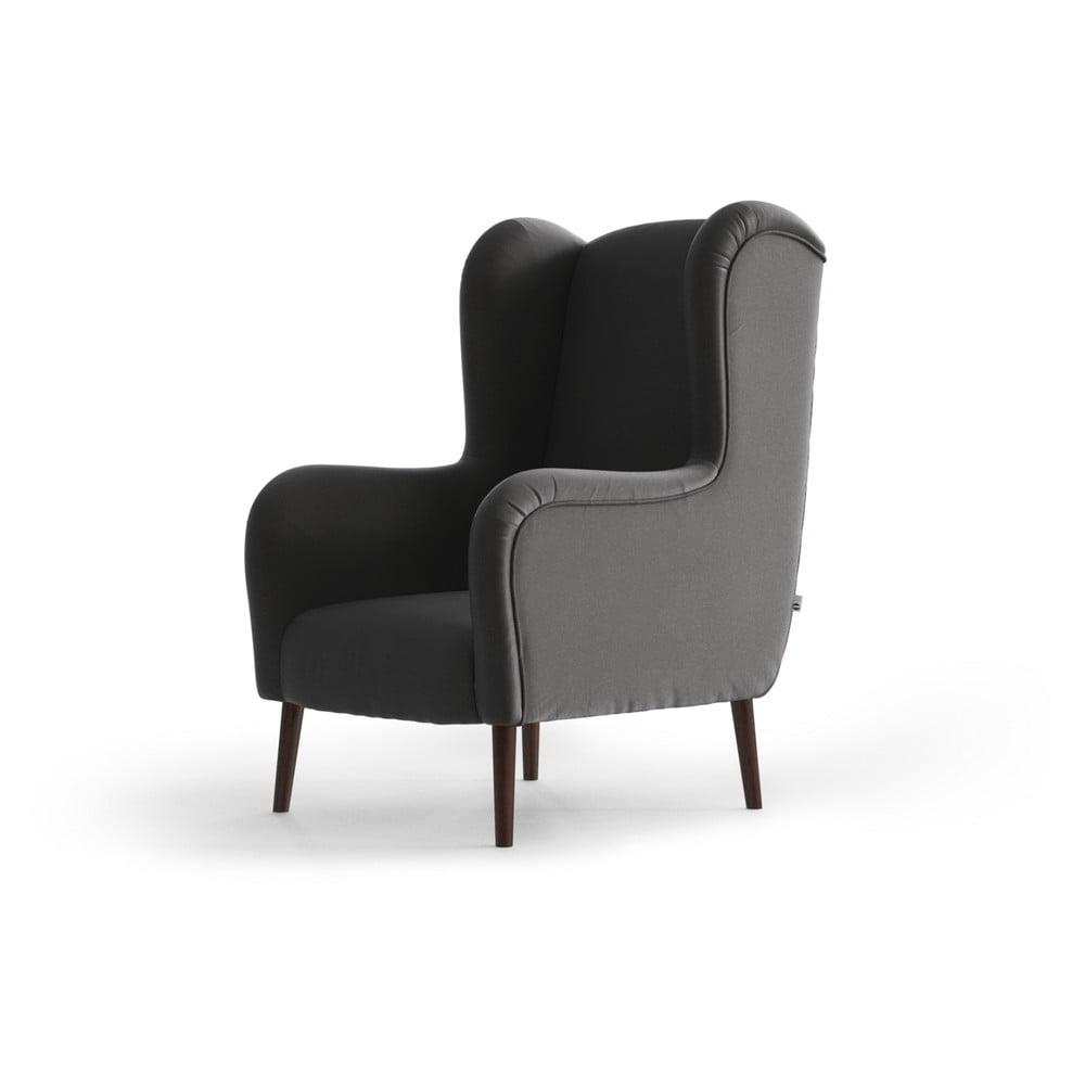 Antracytowy aksamitny fotel uszak My Pop Design Muette