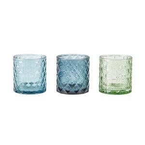 Zestaw 3 niebieskich świeczników na tealight KJ Collection Glass, 7x7,5cm