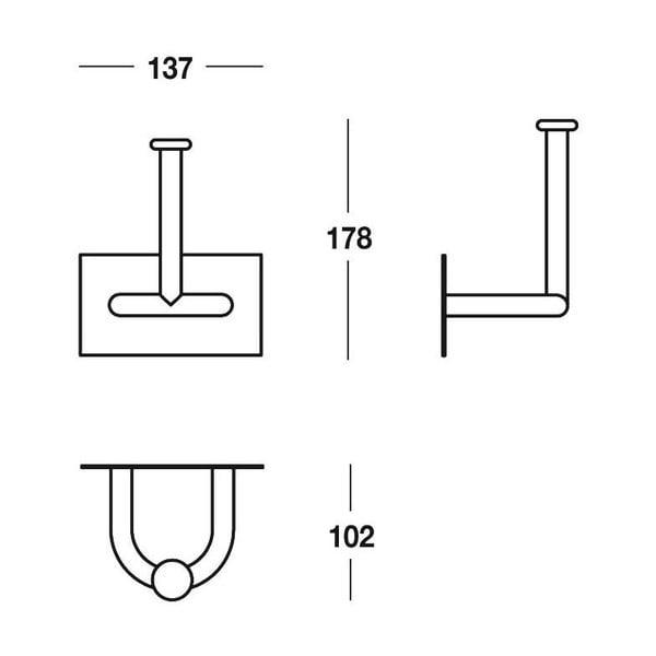 Uchwyt na papier toaletowy Chromo, 13,7x17,8x10 cm