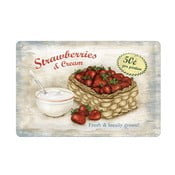 Blaszana tablica Strawberries and Cream, 20x30 cm