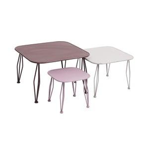 Zestaw 3 różowych stolików Nordal Shaped