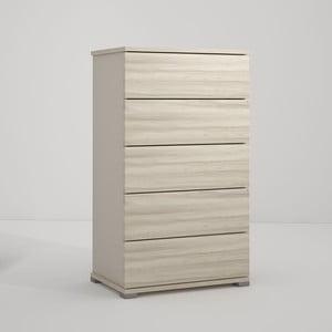 Szara komoda z 5 szufladami z dekorem drewna wiązu Terraneo