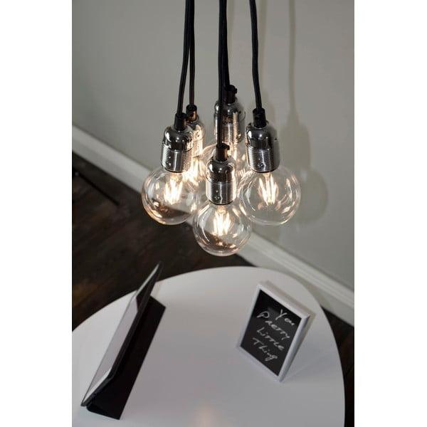 Lampa wisząca z 5 czarnymi kablami i oprawą żarówki w srebrnym kolorze Bulb Attack Uno Unit
