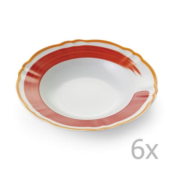Zestaw 6 głębokich talerzy Giotto Orange/Red
