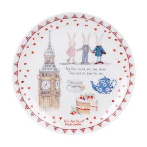 Talerz deserowy z porcelany kostnej Ashdene Ruby Red London Big Ben, ⌀15cm