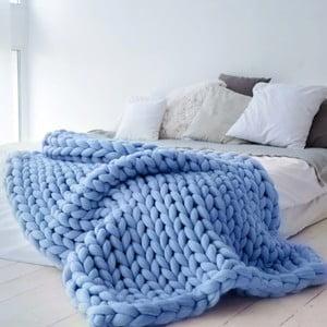 Niebieski ręcznie tkany koc z wełny merino Concepttual Chunky, 125x130cm