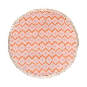 Pomarańczowy ręcznik hammam Begonville Ripple, ᴓ 150 cm