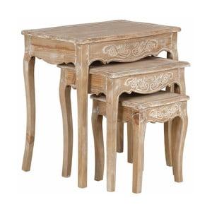 Zestaw 3 stolików z drewna sosnowego Støraa Dior