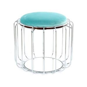 Turkusowy stolik/puf z konstrukcją w srebrnym kolorze 360 Living Canny, ⌀ 50 cm
