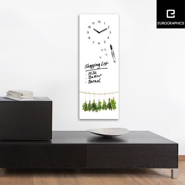 Tablica magnetyczna z zegarem Eurographic Hanging Herbs, 30x80 cm