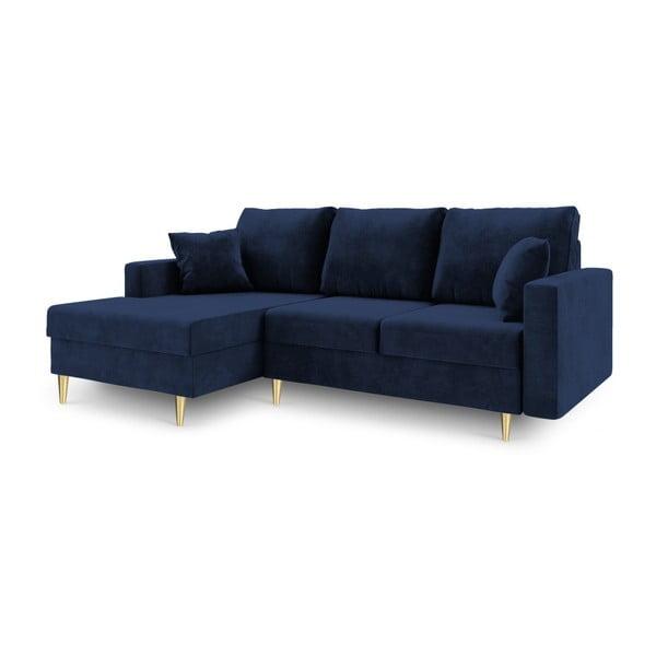 Niebieska 4-osobowa sofa rozkładana Mazzini Sofas Muguet, lewostronna