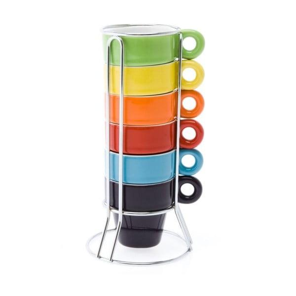 Zestaw 6 kubków na stojaku Ristretto Rainbow
