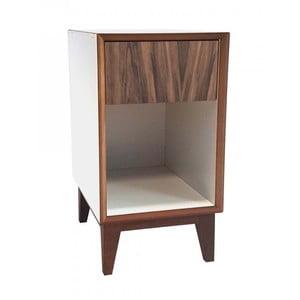 Duża szafka nocna z białym korpusem i brązową szufladą Ragaba PIX