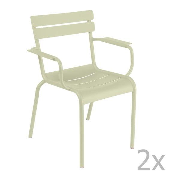 Zestaw 2 jasnozielonych krzeseł z podłokietnikami Fermob Luxembourg
