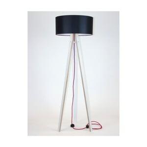 Biała lampa stojąca z czarnym abażurem i czerwonym kablem Ragaba Wanda