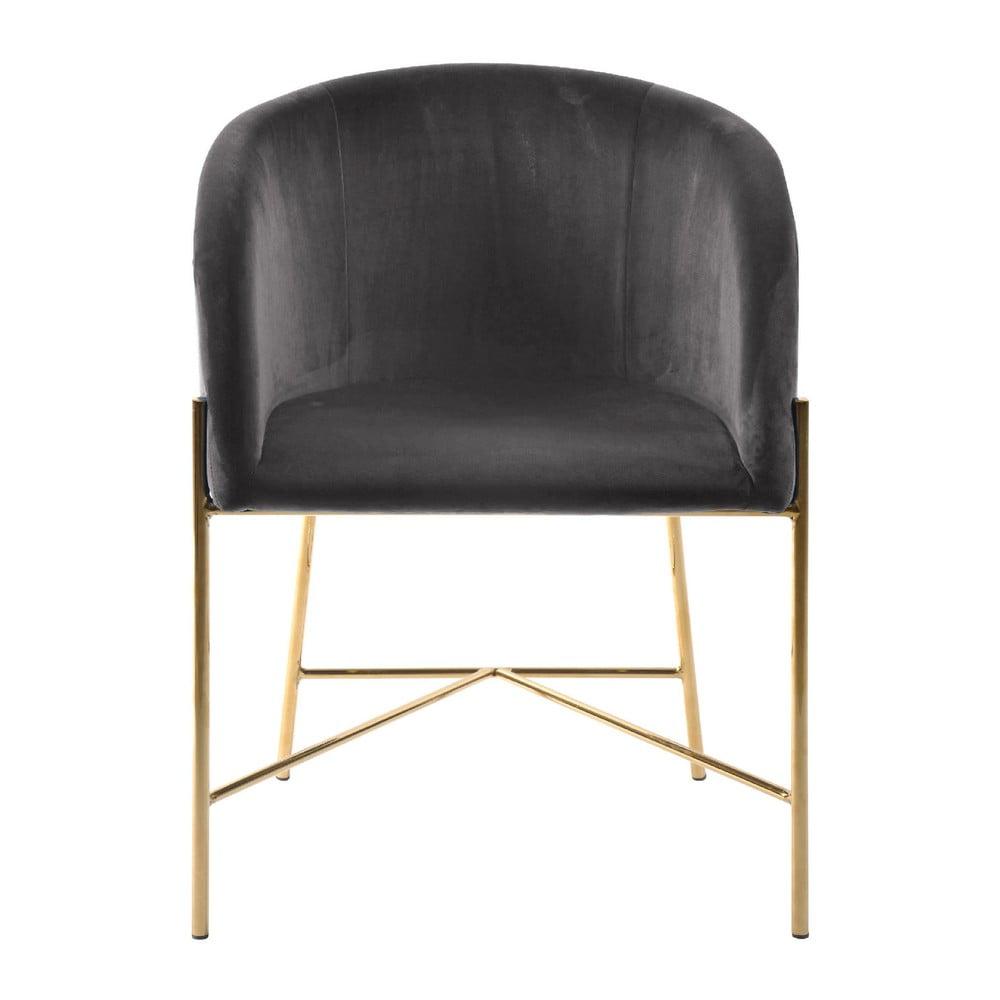 Ciemnoszare krzesło z nogami w złotym kolorze Interstil Nelson