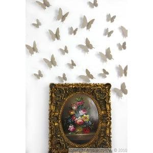 Zestaw   12 naklejek elektrostatycznych 3D Ambiance Light Brown Butterflies