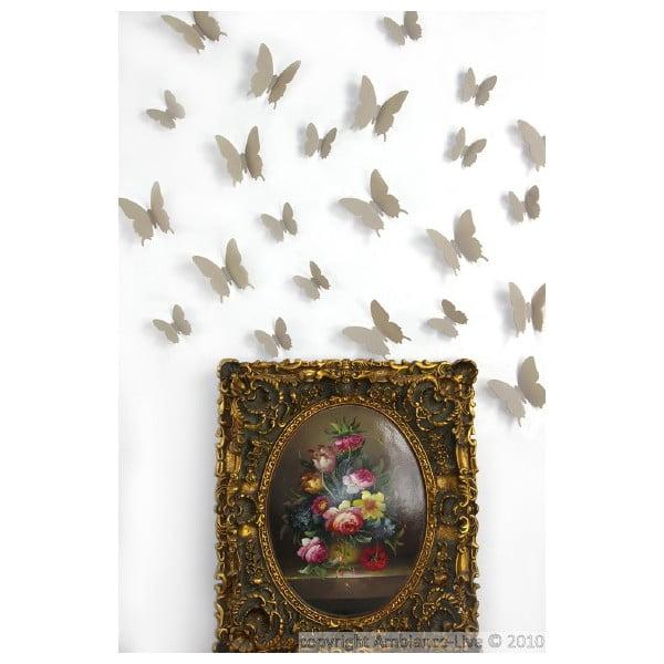 Zestaw 12 brązowych naklejek elektrostatycznych 3D Ambiance Light Brown Butterflies