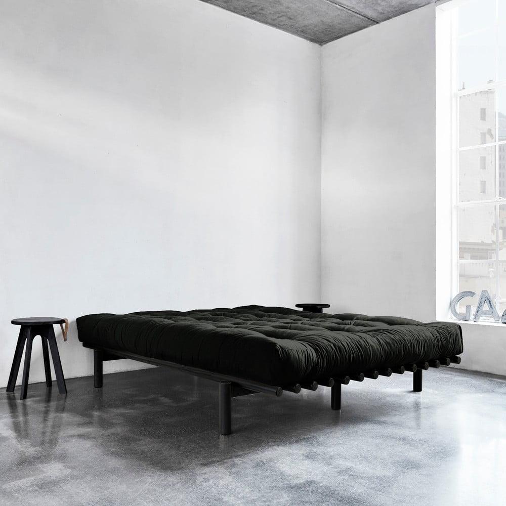Czarna Rama łóżka Z Drewna Sosnowego Karup Design Pace 160x200 Cm Bonami