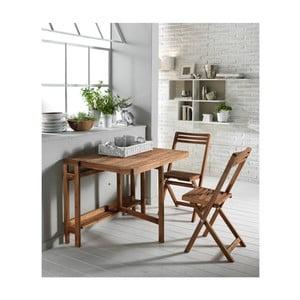 Rozkładany stół ogrodowy z 2 krzesłami z drewna akacjowego Design Twist Cahul
