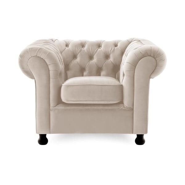 Jasnoszary fotel Vivonita Chesterfield Silky