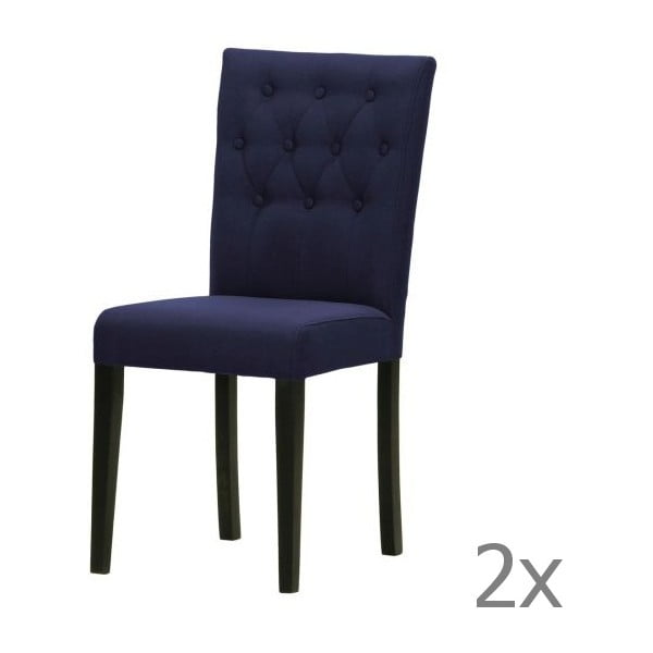 Komplet 2 krzeseł Monako Etna Dark Blue, czarne nóżki