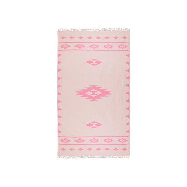 Różowy ręcznik hammam Alpha, dwustronny