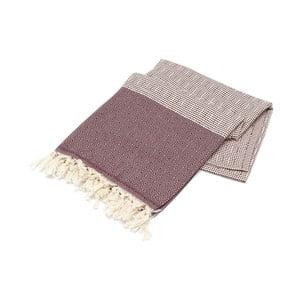 Bordowy ręcznik Hammam Elmasi, 100x180cm