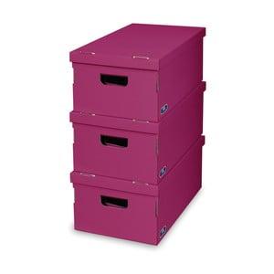 Zestaw 3 fioletowych pudełek Domopak
