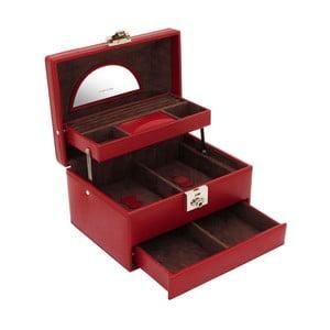 Czerwona szkatułka na biżuterię Friedrich Lederwaren Cordoba, 22x16 cm