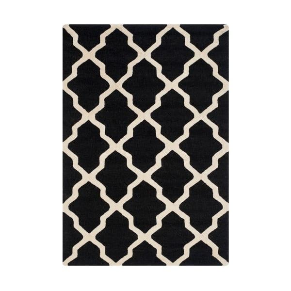 Dywan wełniany Ava Black, 121x182 cm