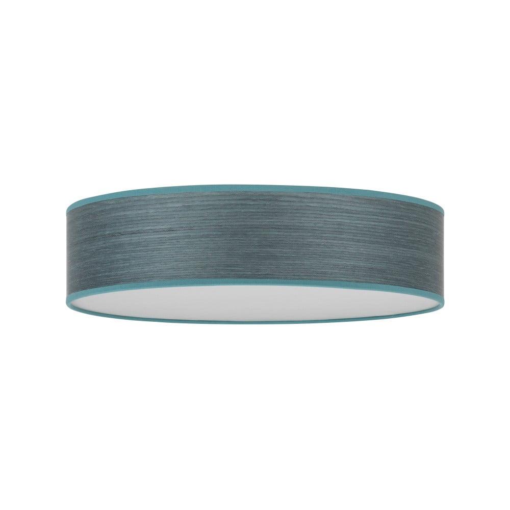 Niebieskoszara lampa sufitowa z abażurem z naturalnego forniru Bulb Attack Ocho, ⌀ 40 cm