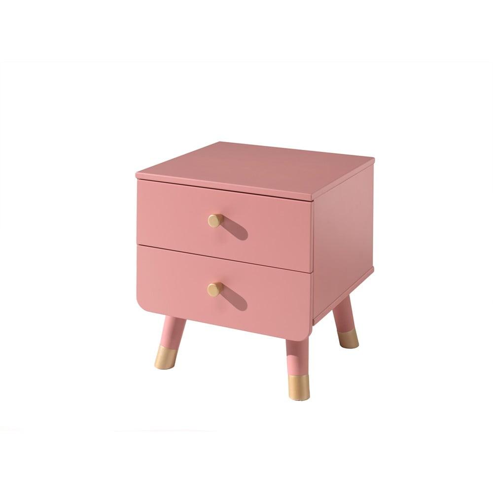 Różowa dziecięca szafka nocna z drewna sosnowego Vipack Billy