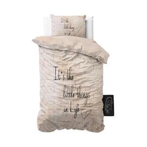 Beżowa pościel z mikroperkalu Sleeptime Little Things, 140x220 cm