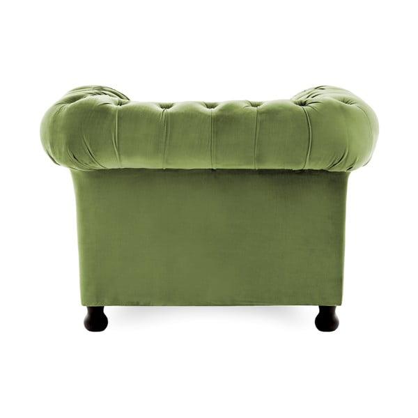 Oliwkowy fotel Vivonita Chesterfield